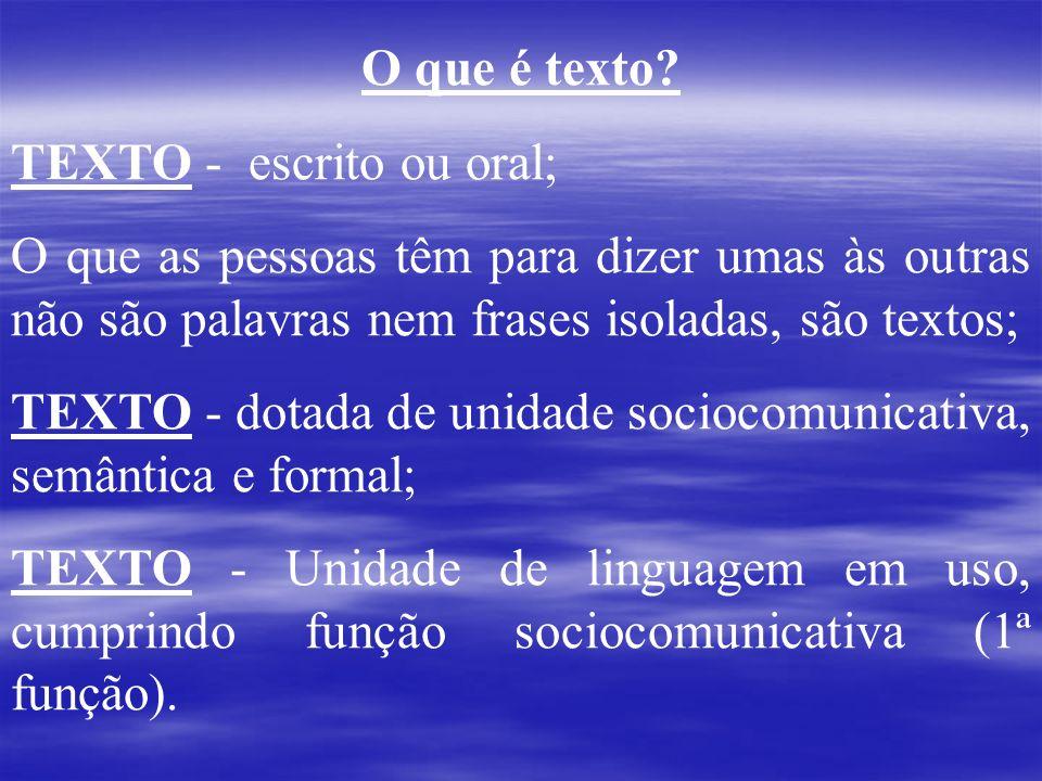 O que é texto? TEXTO - escrito ou oral; O que as pessoas têm para dizer umas às outras não são palavras nem frases isoladas, são textos; TEXTO - dotad