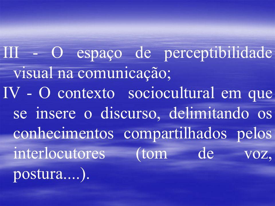 III - O espaço de perceptibilidade visual na comunicação; IV - O contexto sociocultural em que se insere o discurso, delimitando os conhecimentos comp