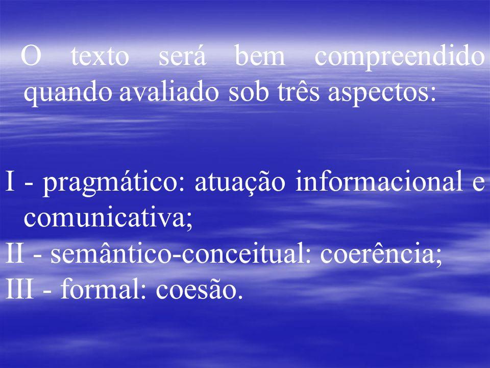 O texto será bem compreendido quando avaliado sob três aspectos: I - pragmático: atuação informacional e comunicativa; II - semântico-conceitual: coer