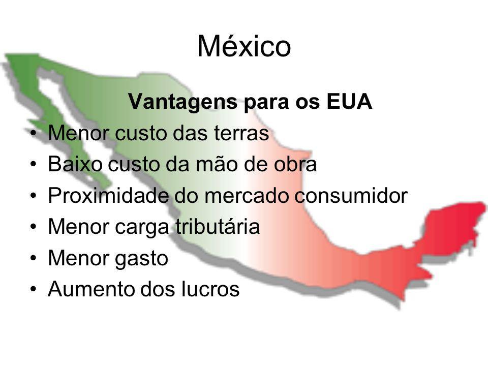 México Vantagens para os EUA Menor custo das terras Baixo custo da mão de obra Proximidade do mercado consumidor Menor carga tributária Menor gasto Au