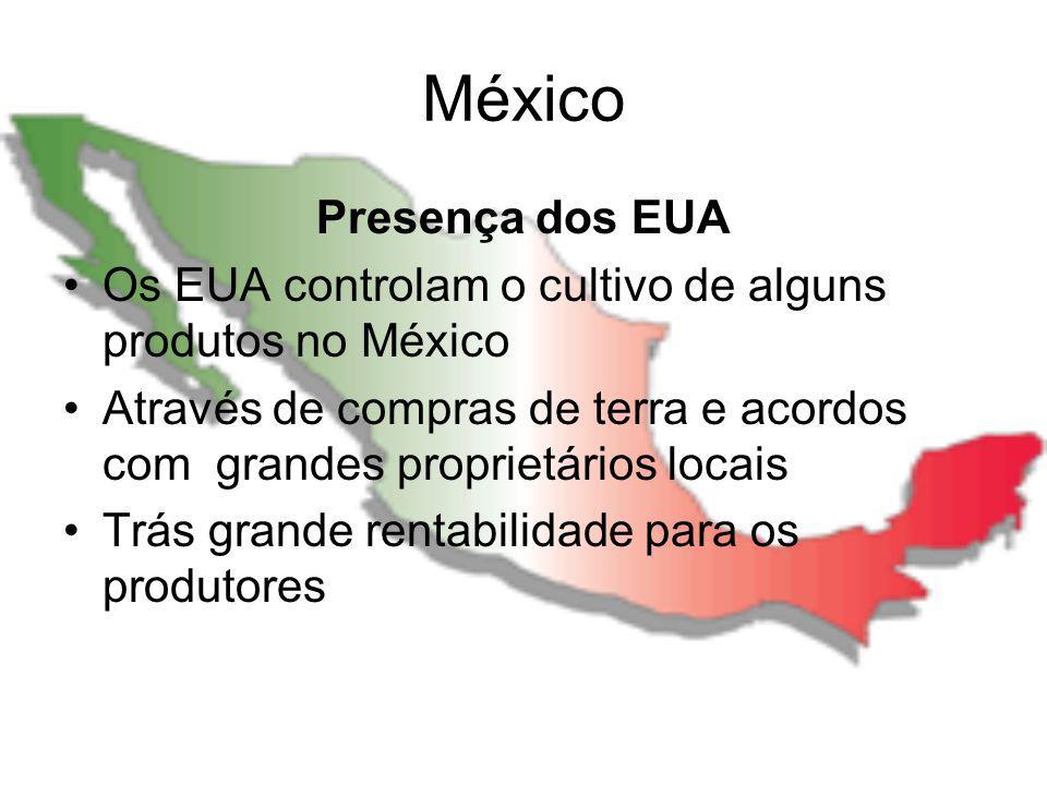 México Presença dos EUA Os EUA controlam o cultivo de alguns produtos no México Através de compras de terra e acordos com grandes proprietários locais