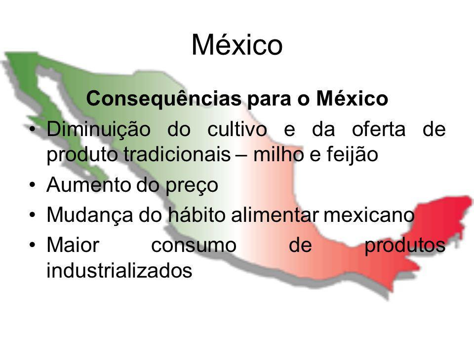 México Consequências para o México Diminuição do cultivo e da oferta de produto tradicionais – milho e feijão Aumento do preço Mudança do hábito alime