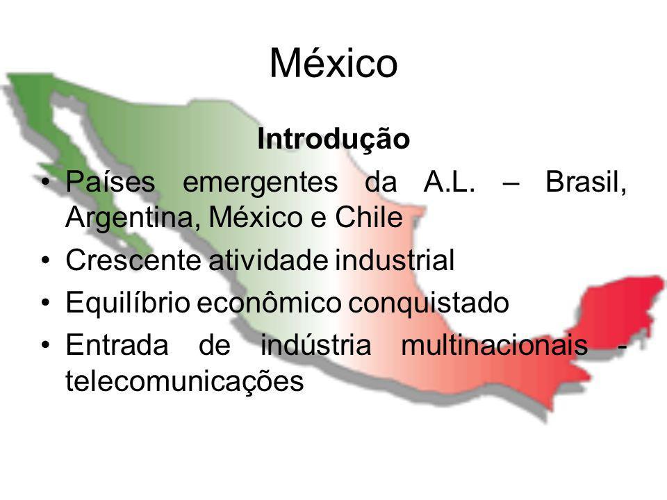México Introdução Países emergentes da A.L. – Brasil, Argentina, México e Chile Crescente atividade industrial Equilíbrio econômico conquistado Entrad