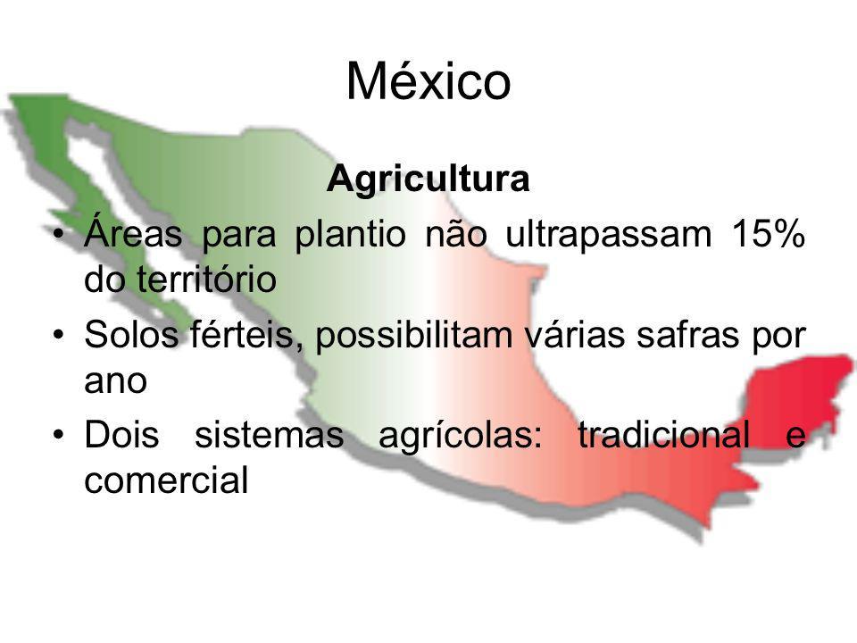 México Agricultura Áreas para plantio não ultrapassam 15% do território Solos férteis, possibilitam várias safras por ano Dois sistemas agrícolas: tra