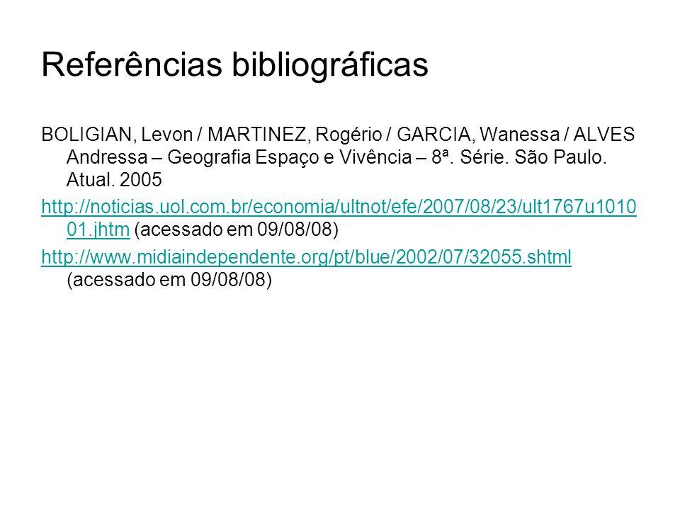 Referências bibliográficas BOLIGIAN, Levon / MARTINEZ, Rogério / GARCIA, Wanessa / ALVES Andressa – Geografia Espaço e Vivência – 8ª. Série. São Paulo