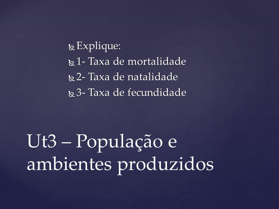 Ut3 – População e ambientes produzidos Explique: Explique: 1- Taxa de mortalidade 1- Taxa de mortalidade 2- Taxa de natalidade 2- Taxa de natalidade 3