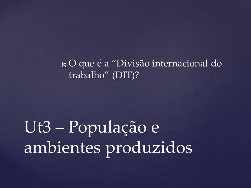 Ut3 – População e ambientes produzidos O que é a Divisão internacional do trabalho (DIT)? O que é a Divisão internacional do trabalho (DIT)?