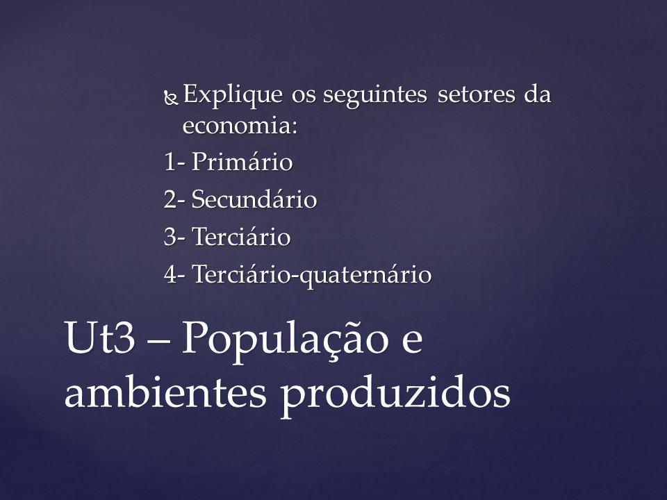 Ut3 – População e ambientes produzidos Explique os seguintes setores da economia: Explique os seguintes setores da economia: 1- Primário 2- Secundário