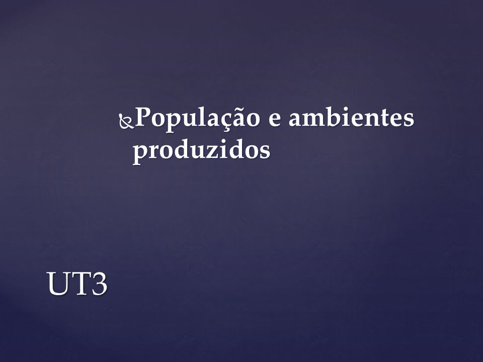 População e ambientes produzidos População e ambientes produzidos UT3