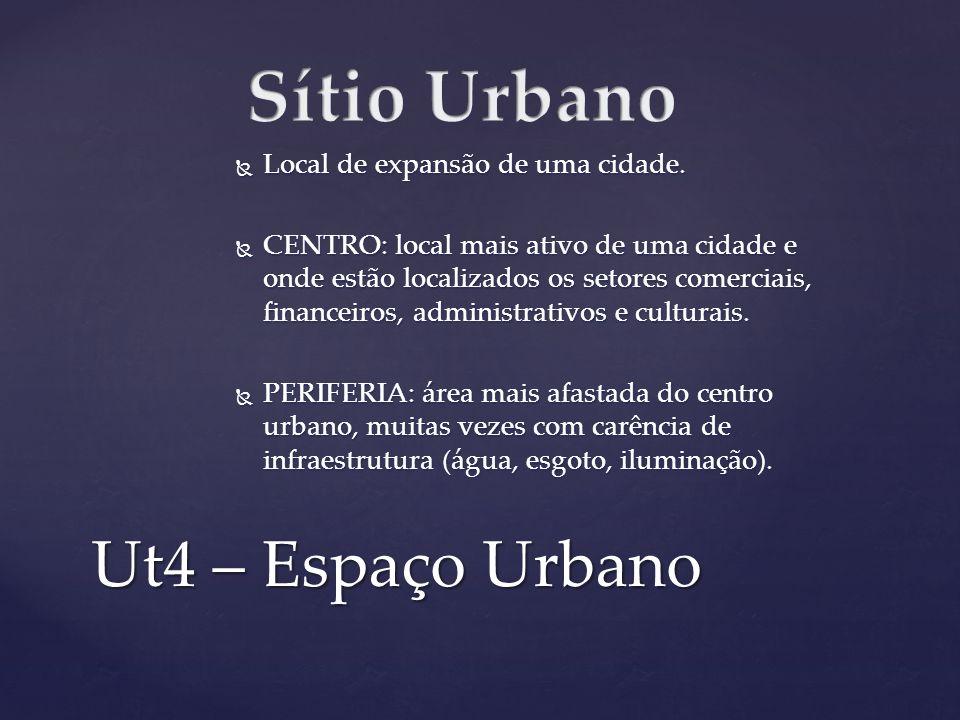 Ut4 – Espaço Urbano Local de expansão de uma cidade. Local de expansão de uma cidade. CENTRO: local mais ativo de uma cidade e onde estão localizados