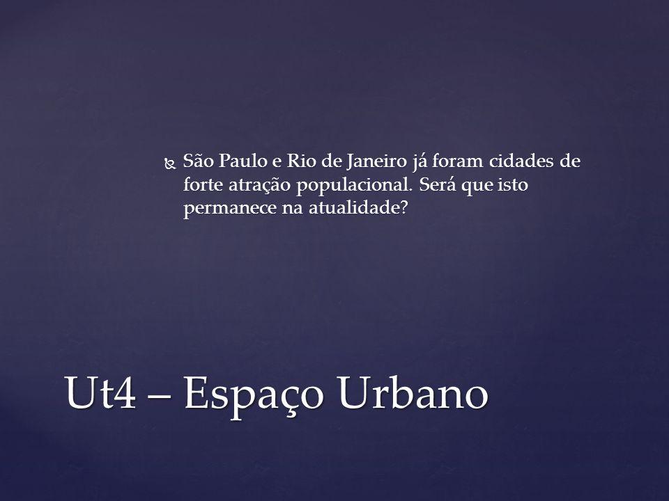 Ut4 – Espaço Urbano São Paulo e Rio de Janeiro já foram cidades de forte atração populacional. Será que isto permanece na atualidade? São Paulo e Rio