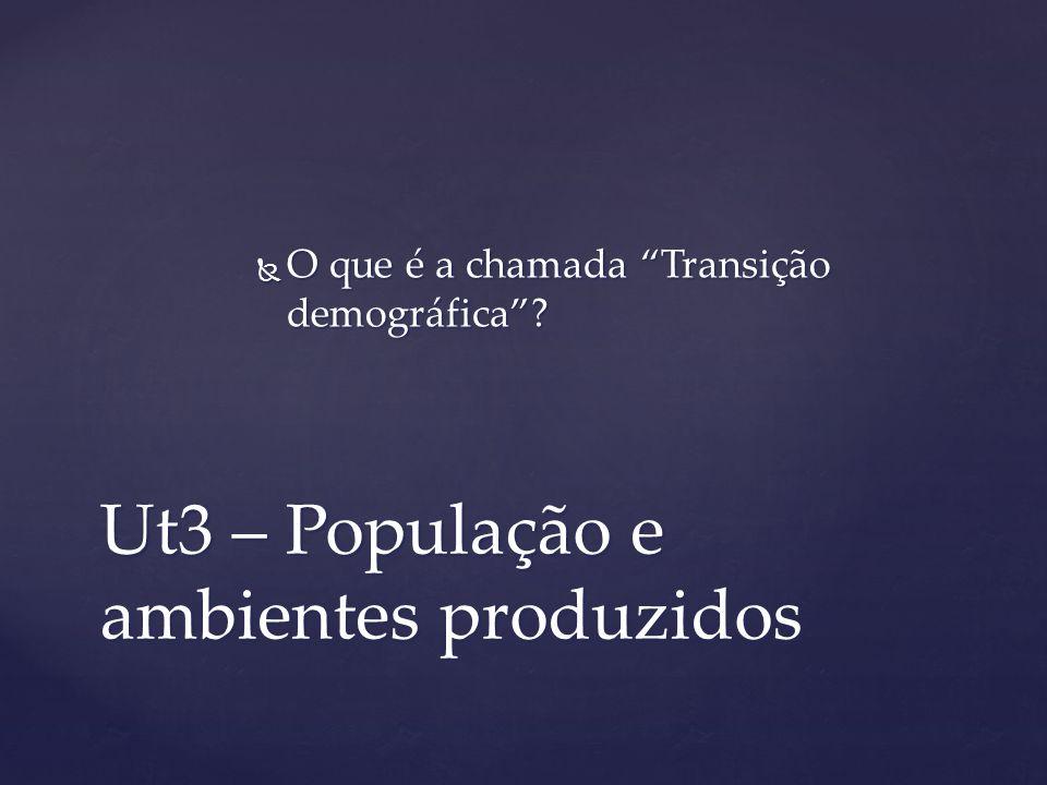 Ut3 – População e ambientes produzidos O que é a chamada Transição demográfica? O que é a chamada Transição demográfica?