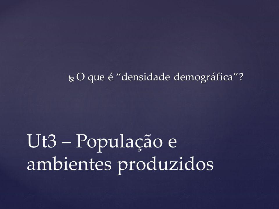 Ut3 – População e ambientes produzidos O que é densidade demográfica? O que é densidade demográfica?