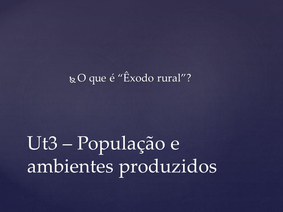 Ut3 – População e ambientes produzidos O que é Êxodo rural? O que é Êxodo rural?