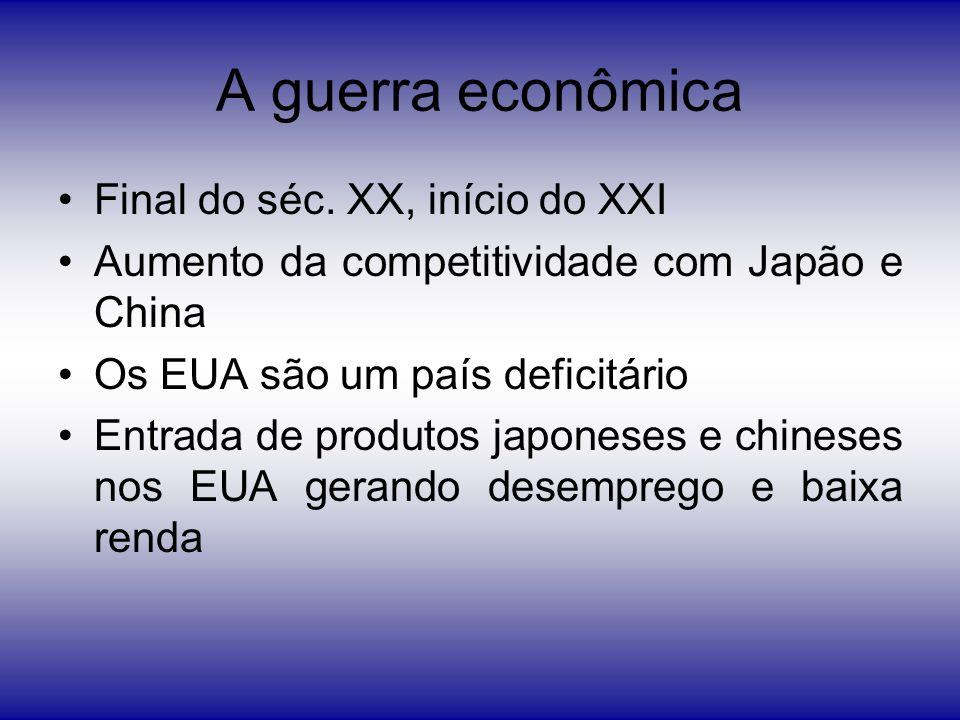 A guerra econômica Final do séc. XX, início do XXI Aumento da competitividade com Japão e China Os EUA são um país deficitário Entrada de produtos jap