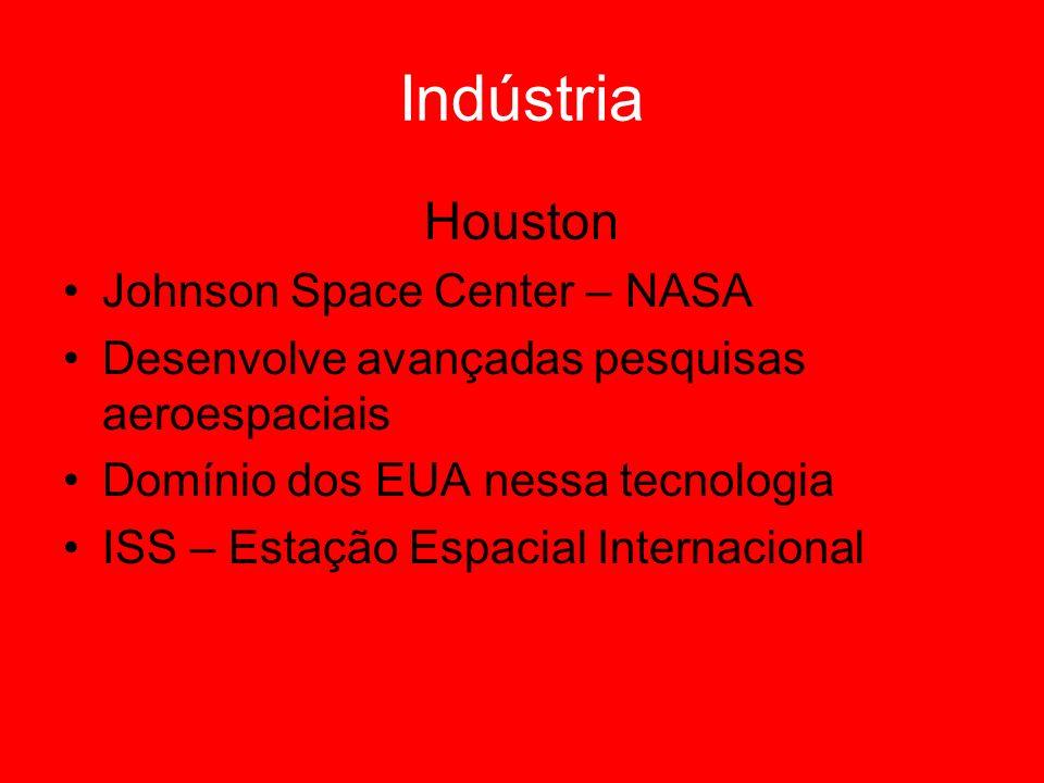 Indústria Houston Johnson Space Center – NASA Desenvolve avançadas pesquisas aeroespaciais Domínio dos EUA nessa tecnologia ISS – Estação Espacial Int