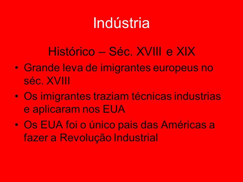 Indústria Histórico – Séc. XVIII e XIX Grande leva de imigrantes europeus no séc. XVIII Os imigrantes traziam técnicas industrias e aplicaram nos EUA
