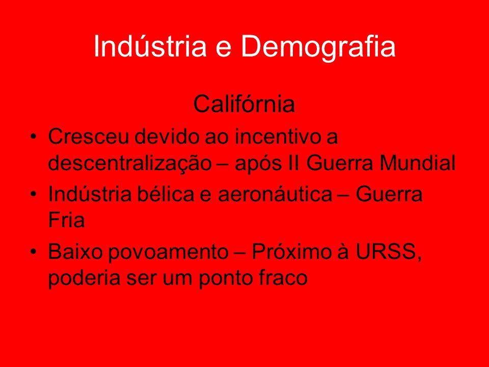 Indústria e Demografia Califórnia Cresceu devido ao incentivo a descentralização – após II Guerra Mundial Indústria bélica e aeronáutica – Guerra Fria