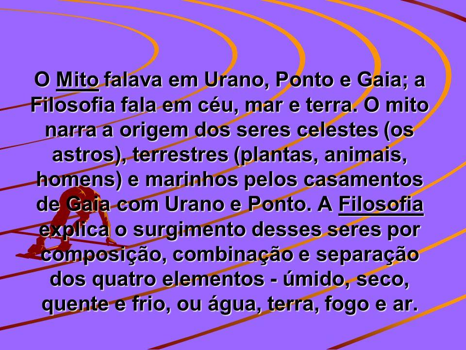 O Mito falava em Urano, Ponto e Gaia; a Filosofia fala em céu, mar e terra. O mito narra a origem dos seres celestes (os astros), terrestres (plantas,