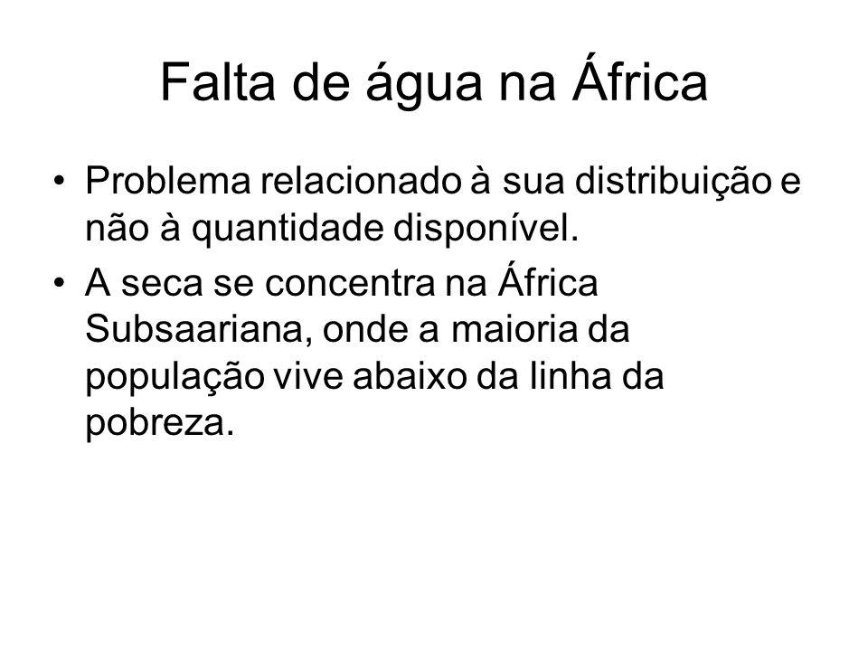 Falta de água na África Problema relacionado à sua distribuição e não à quantidade disponível. A seca se concentra na África Subsaariana, onde a maior