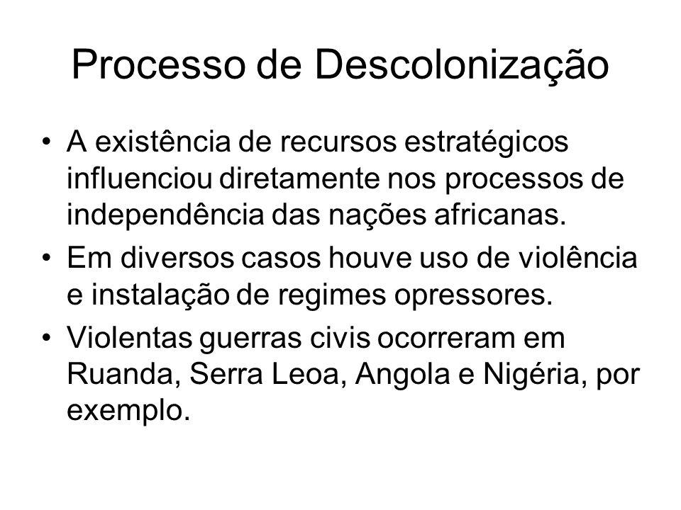 Processo de Descolonização A existência de recursos estratégicos influenciou diretamente nos processos de independência das nações africanas. Em diver
