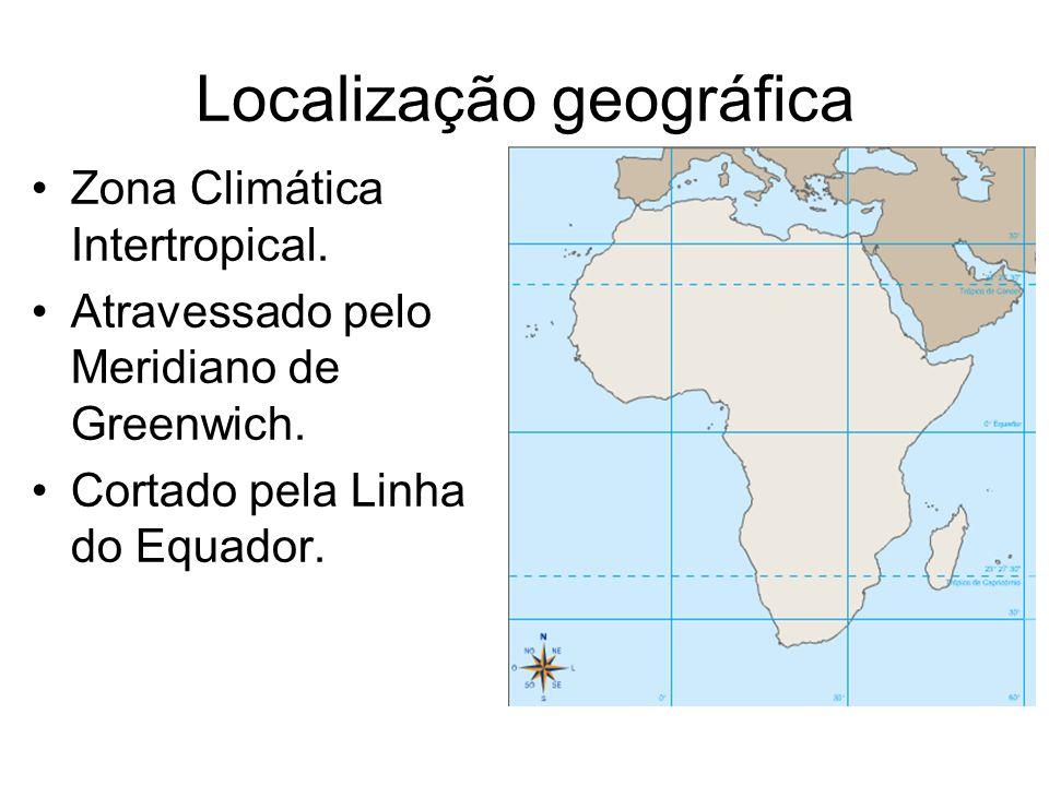 Localização geográfica Zona Climática Intertropical. Atravessado pelo Meridiano de Greenwich. Cortado pela Linha do Equador.
