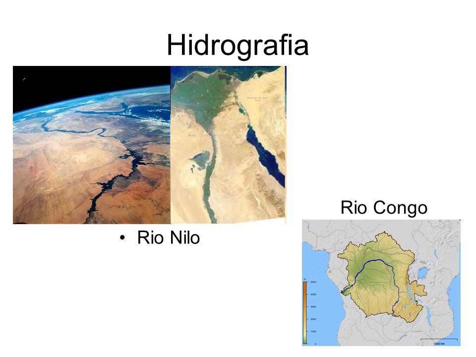 Rio Nilo Maior rio africano Nasce na região central: Nilo Branco, nasce no Lago Vitória e o Nilo Azul nasce no Lago Tana; por este motivo ele atravessa o deserto sem secar.