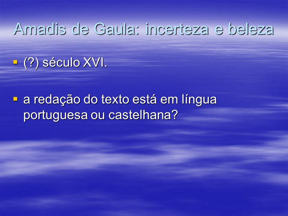 Amadis de Gaula: incerteza e beleza (?) século XVI. (?) século XVI. a redação do texto está em língua portuguesa ou castelhana? a redação do texto est