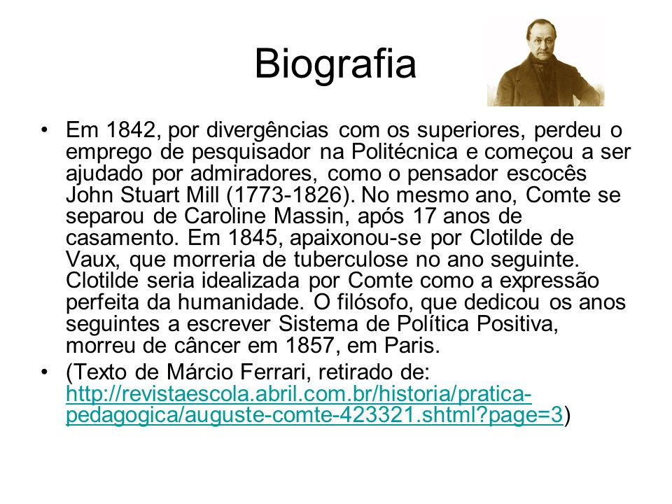 PONTOS IMPORTANTES Biografia de Comte Sociologia Positivismo A lei dos três estados Religião da humanidade Classificação das Ciências