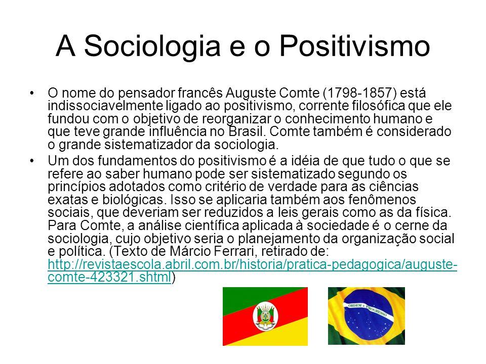 A Sociologia e o Positivismo Nesse sentido, o objetivo de Comte com a Sociologia era analisar a sociedade sistematicamente com métodos e técnicas semelhantes as das ciências exatas e naturais.
