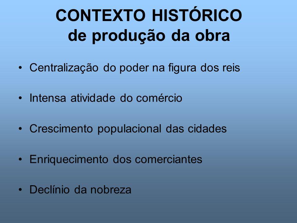 CONTEXTO HISTÓRICO de produção da obra Centralização do poder na figura dos reis Intensa atividade do comércio Crescimento populacional das cidades En