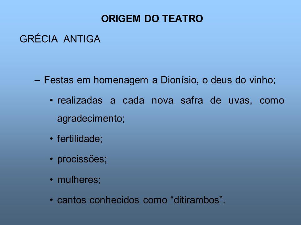 ORIGEM DO TEATRO GRÉCIA ANTIGA –Festas em homenagem a Dionísio, o deus do vinho; realizadas a cada nova safra de uvas, como agradecimento; fertilidade