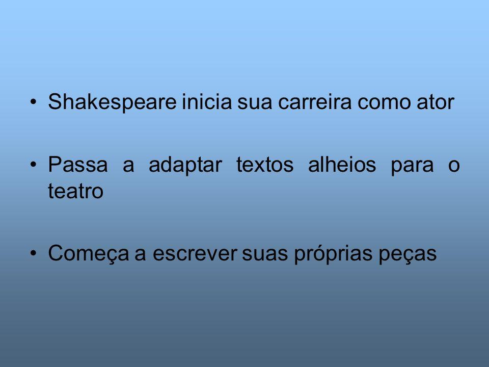 Shakespeare inicia sua carreira como ator Passa a adaptar textos alheios para o teatro Começa a escrever suas próprias peças