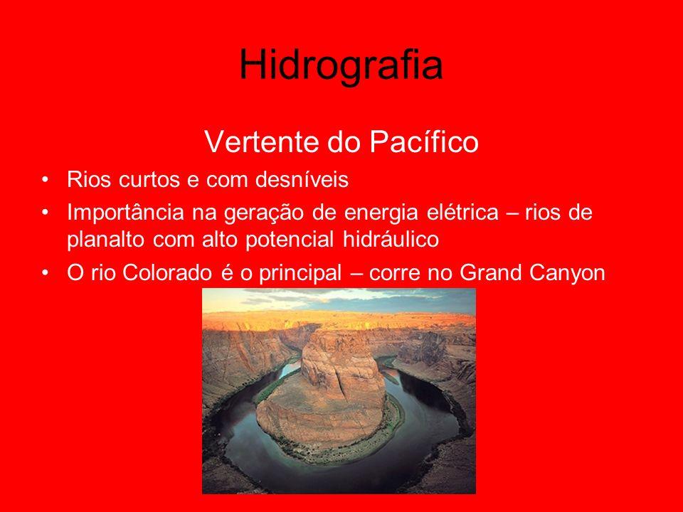 Hidrografia Vertente do Pacífico Rios curtos e com desníveis Importância na geração de energia elétrica – rios de planalto com alto potencial hidráuli