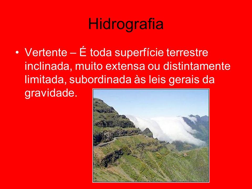Hidrografia Vertente – É toda superfície terrestre inclinada, muito extensa ou distintamente limitada, subordinada às leis gerais da gravidade.