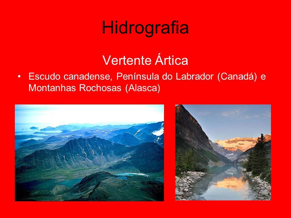 Vertente Ártica Escudo canadense, Península do Labrador (Canadá) e Montanhas Rochosas (Alasca)