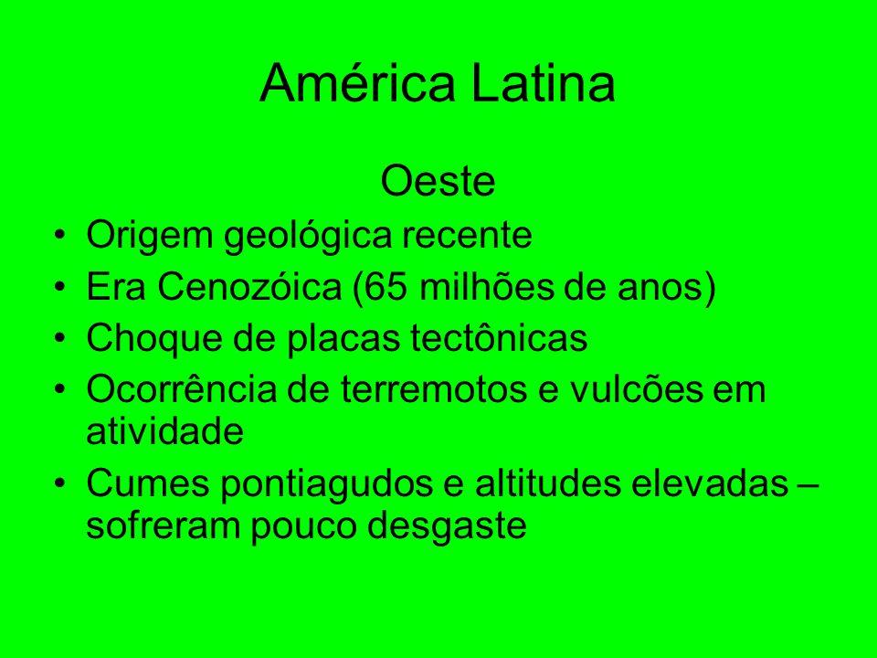 América Latina Oeste Origem geológica recente Era Cenozóica (65 milhões de anos) Choque de placas tectônicas Ocorrência de terremotos e vulcões em atividade Cumes pontiagudos e altitudes elevadas – sofreram pouco desgaste