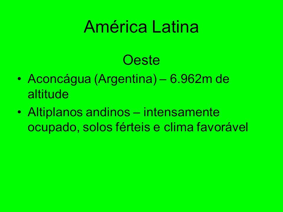 América Latina Oeste Aconcágua (Argentina) – 6.962m de altitude Altiplanos andinos – intensamente ocupado, solos férteis e clima favorável