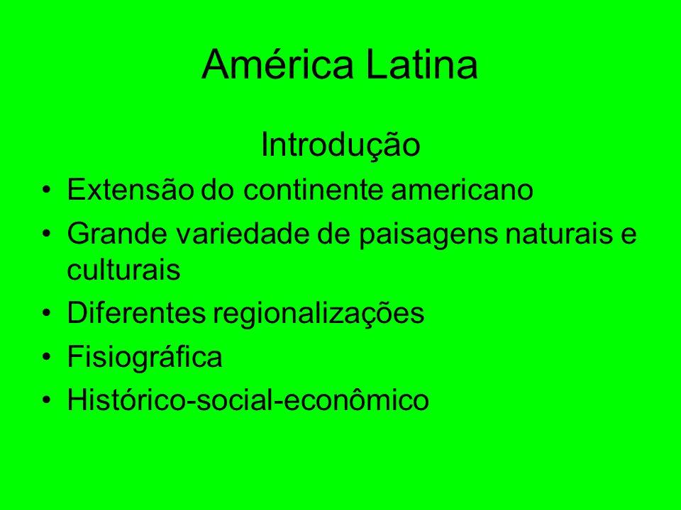 Introdução Extensão do continente americano Grande variedade de paisagens naturais e culturais Diferentes regionalizações Fisiográfica Histórico-social-econômico