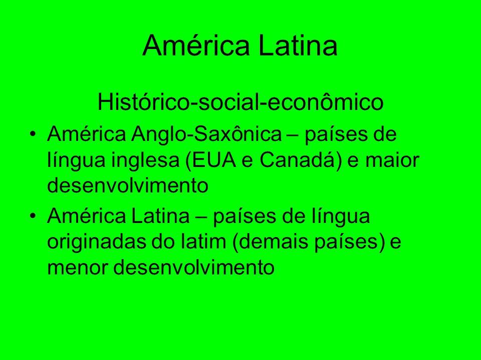 América Latina Histórico-social-econômico América Anglo-Saxônica – países de língua inglesa (EUA e Canadá) e maior desenvolvimento América Latina – países de língua originadas do latim (demais países) e menor desenvolvimento