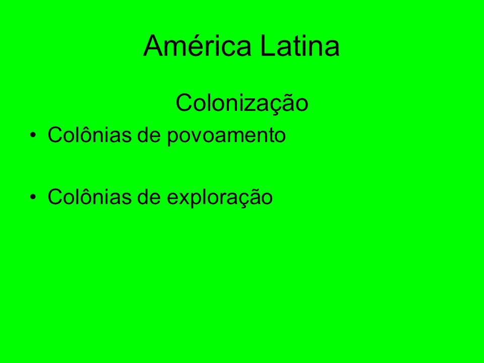 América Latina Colonização Colônias de povoamento Colônias de exploração