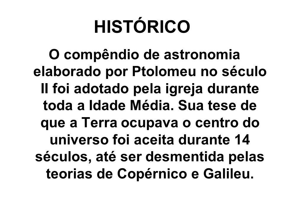 HISTÓRICO O compêndio de astronomia elaborado por Ptolomeu no século II foi adotado pela igreja durante toda a Idade Média. Sua tese de que a Terra oc