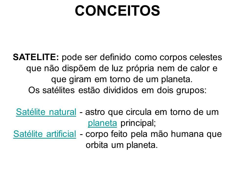 CONCEITOS SATELITE: pode ser definido como corpos celestes que não dispõem de luz própria nem de calor e que giram em torno de um planeta. Os satélite