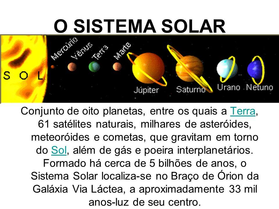 O SISTEMA SOLAR Conjunto de oito planetas, entre os quais a Terra, 61 satélites naturais, milhares de asteróides, meteoróides e cometas, que gravitam em torno do Sol, além de gás e poeira interplanetários.