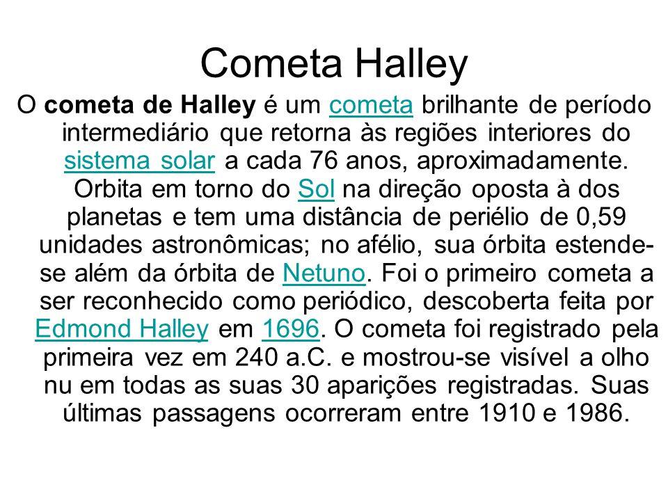 Cometa Halley O cometa de Halley é um cometa brilhante de período intermediário que retorna às regiões interiores do sistema solar a cada 76 anos, aproximadamente.