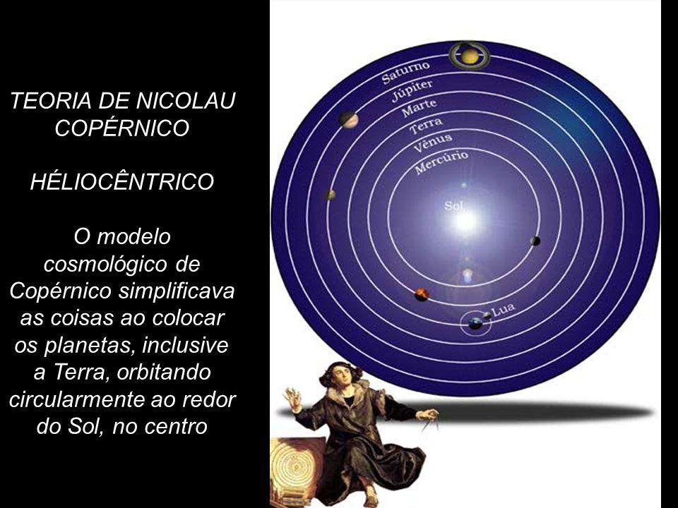 TEORIA DE NICOLAU COPÉRNICO HÉLIOCÊNTRICO O modelo cosmológico de Copérnico simplificava as coisas ao colocar os planetas, inclusive a Terra, orbitand