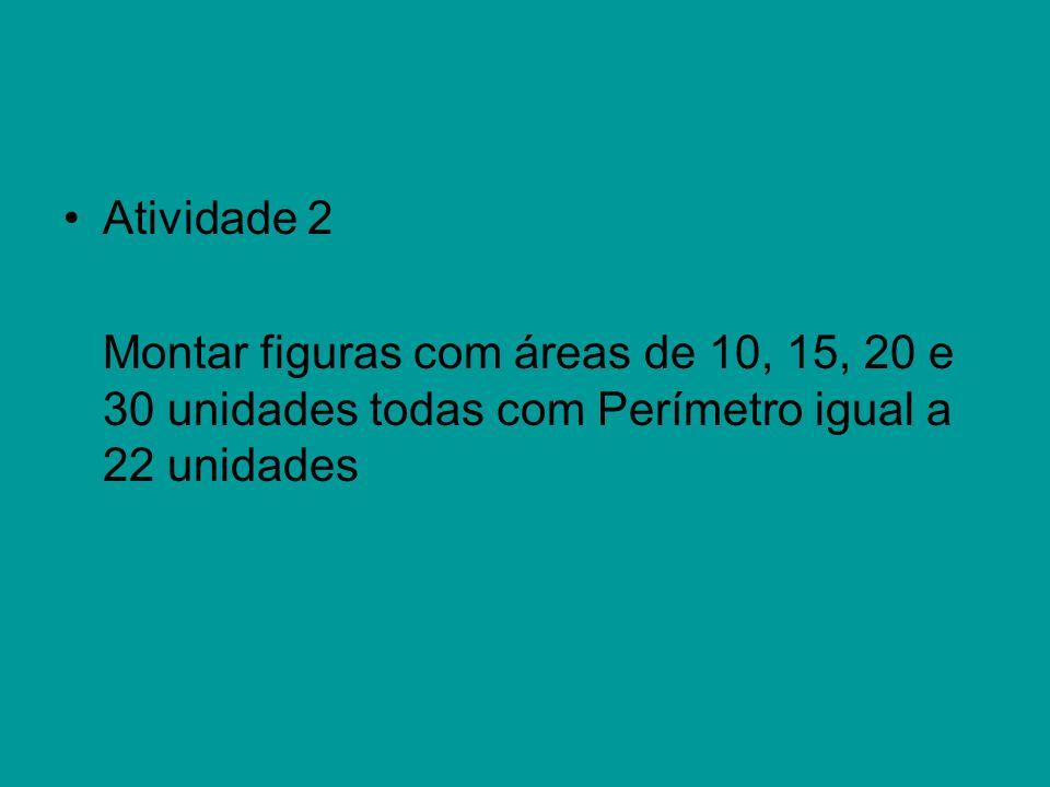 Atividade 2 Montar figuras com áreas de 10, 15, 20 e 30 unidades todas com Perímetro igual a 22 unidades