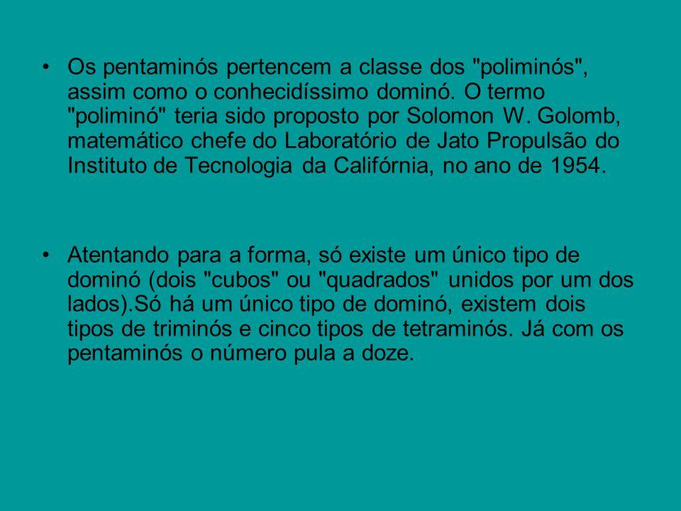 Os pentaminós pertencem a classe dos poliminós , assim como o conhecidíssimo dominó.