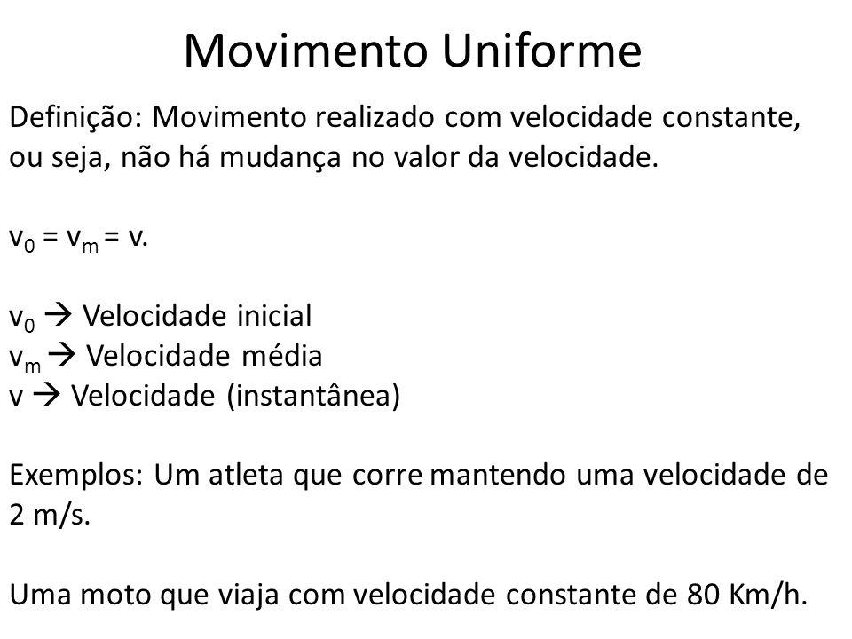 Movimento Uniforme Definição: Movimento realizado com velocidade constante, ou seja, não há mudança no valor da velocidade. v 0 = v m = v. v 0 Velocid