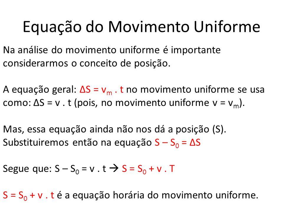 Equação do Movimento Uniforme Na análise do movimento uniforme é importante considerarmos o conceito de posição. A equação geral: S = v m. t no movime